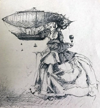 focus drawing woman with ship and balloon